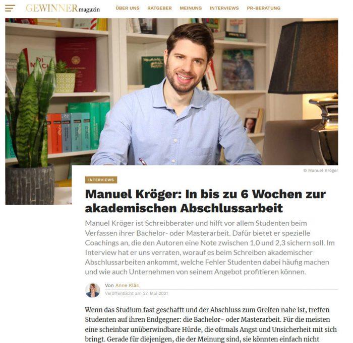 Interview mit Manuel Kröger im Gewinner Magazin